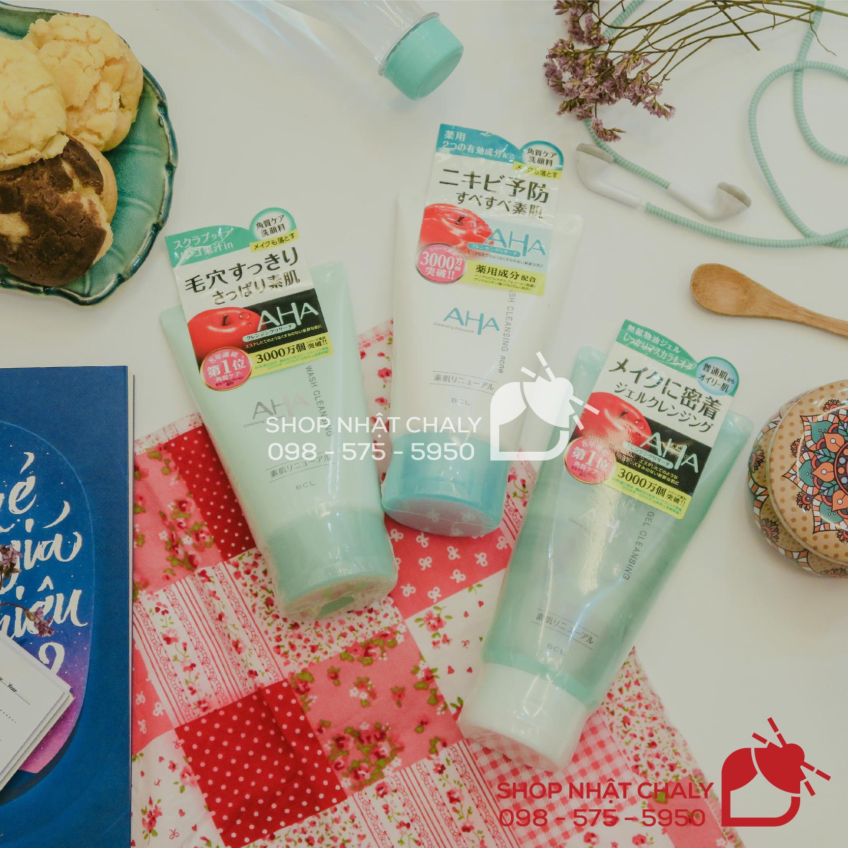 Top 3 sản phẩm được yêu thích nhất của mỹ phẩm AHA của Nhật: sữa rửa mặt AHA Wash Cleansing và tẩy trang AHA gel cleansing