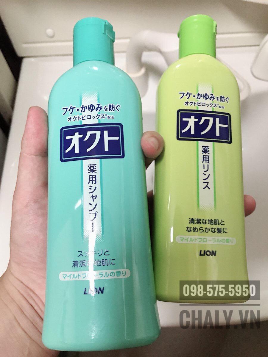 Dầu gội nam Nhật Bản và dầu xả trị gàu cùng bộ Okuto Medicated Lion giá mềm, hiệu quả cao nên được ưa thích