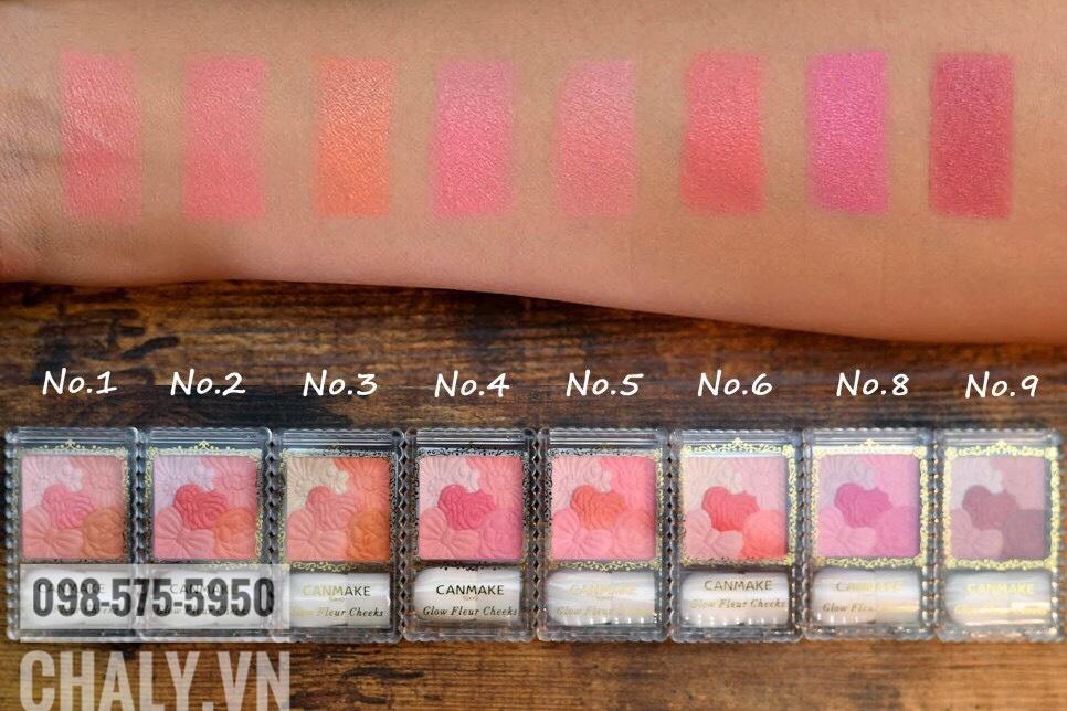 9 tone màu của bảng màu phấn má hồng Canmake