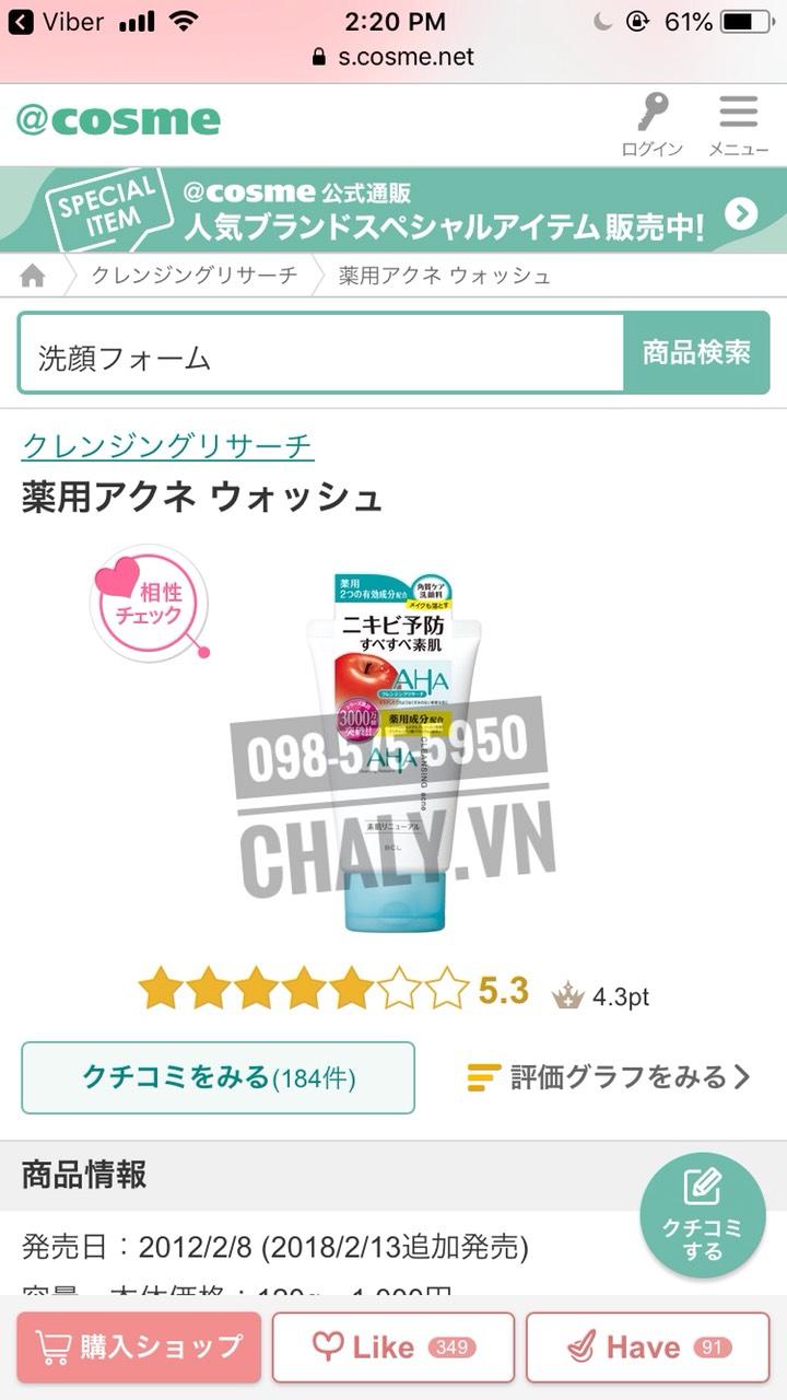 Sữa rửa mặt AHA BHA màu trắng wash cleansing acne dành cho da mụn được chấm 5.3 với gần 200 review