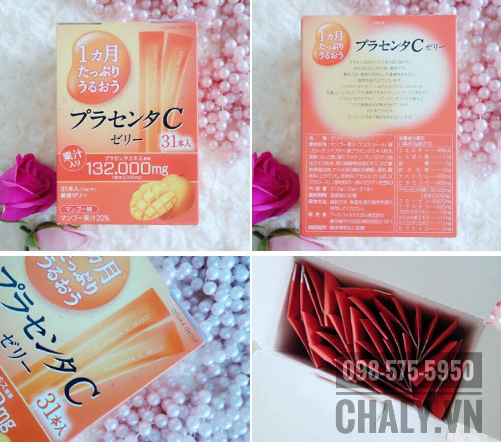 Bên trong một hộp thạch collagen jelly c placenta làm đẹp da của Otsuka Nhật