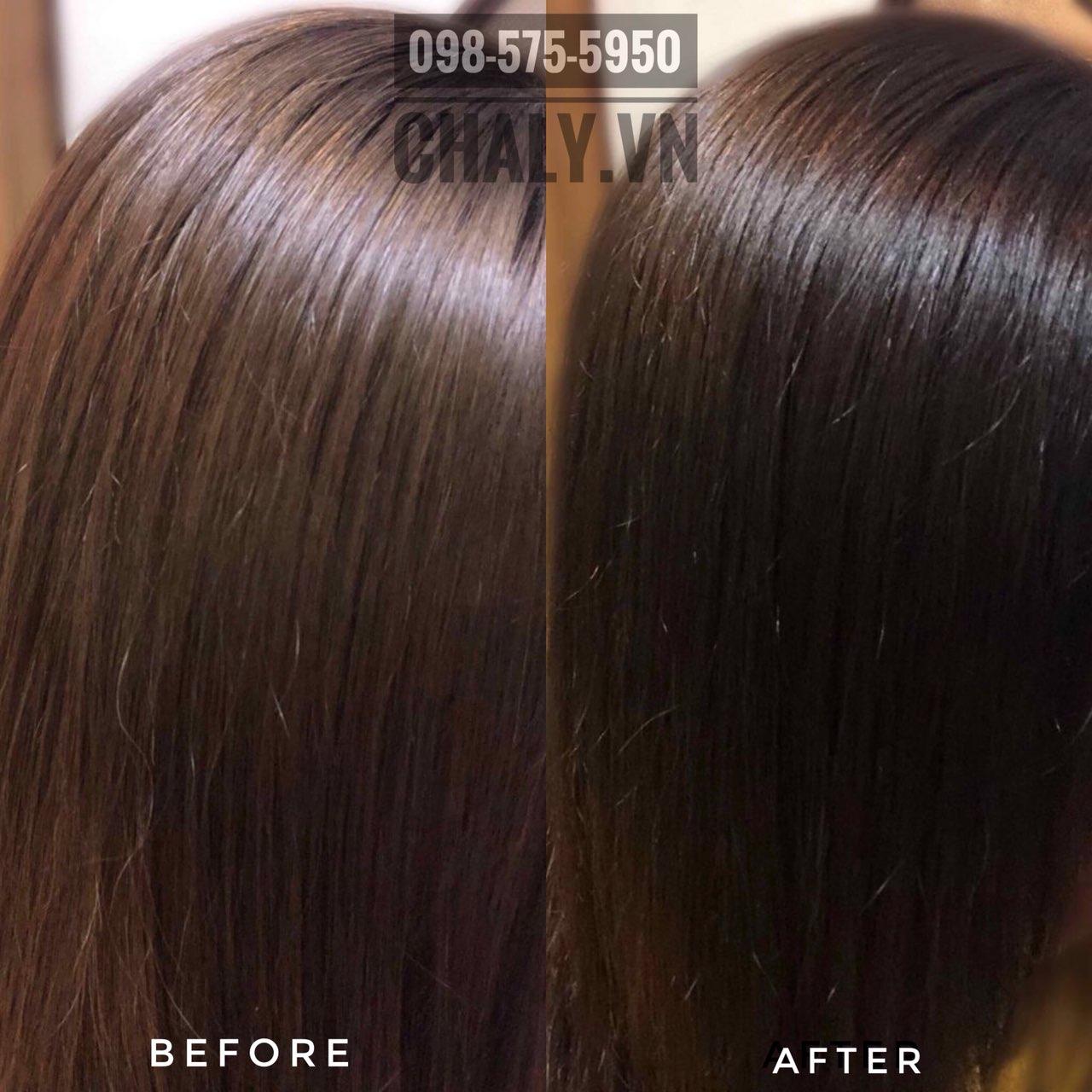 Sau khi sử dụng tẩy tóc tại nhà Liese bằng tone nâu tự nhiên thì mái tóc sẫm màu hơn và bớt ánh vàng hoe ban đầu