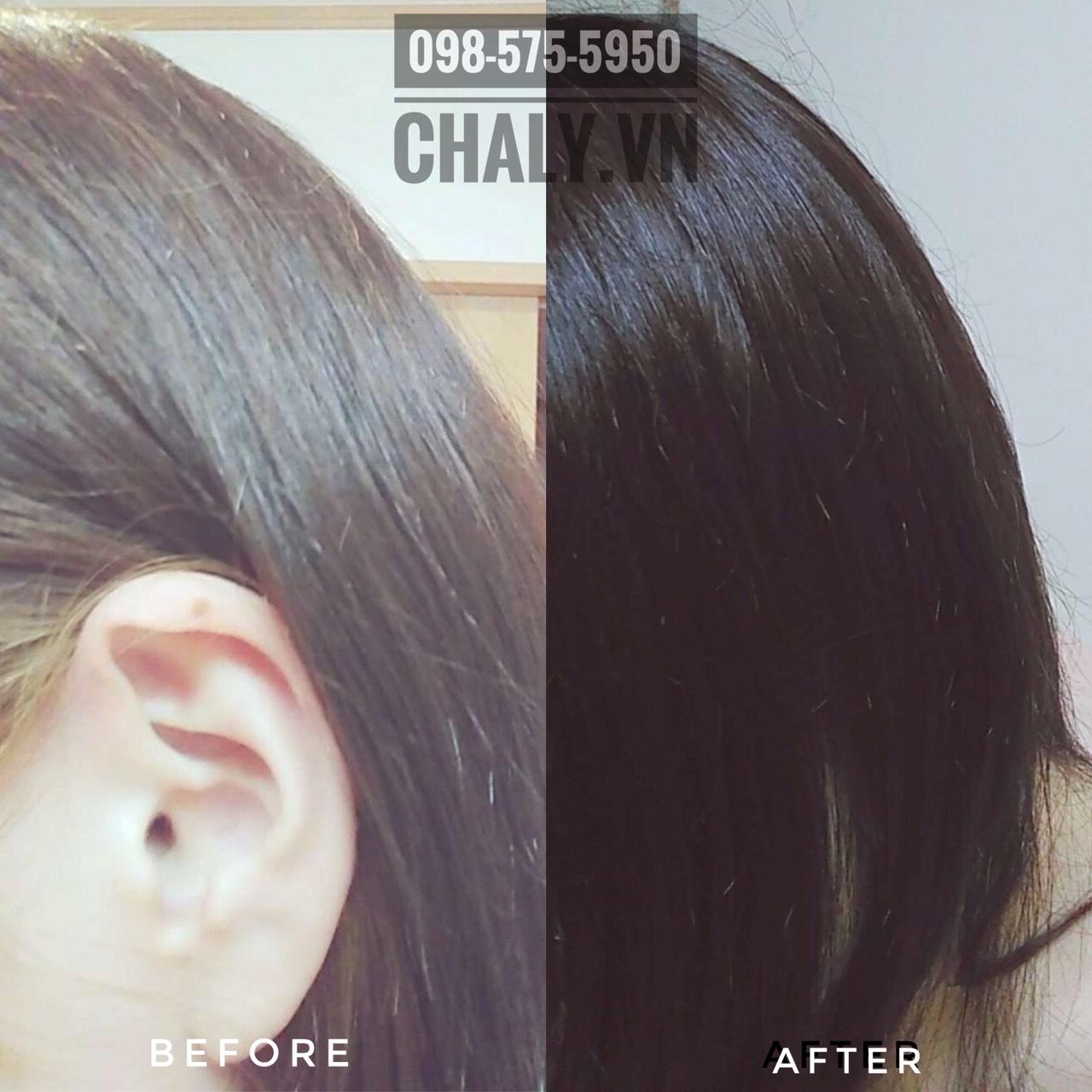 Hình ảnh thực tế mình đã tẩy màu tóc nhuộm vàng với bọt tẩy tóc Kao Liese của Nhật