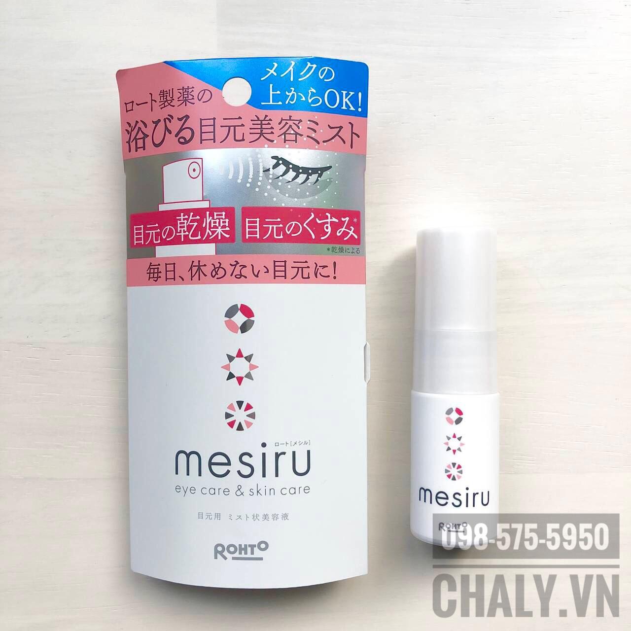 Xịt khoáng của Nhật Bản Mesiru eyecare & skincare chuyên chăm sóc vùng da mắt mỏng manh và nuôi dưỡng lông mi khoẻ, giảm gãy rụng