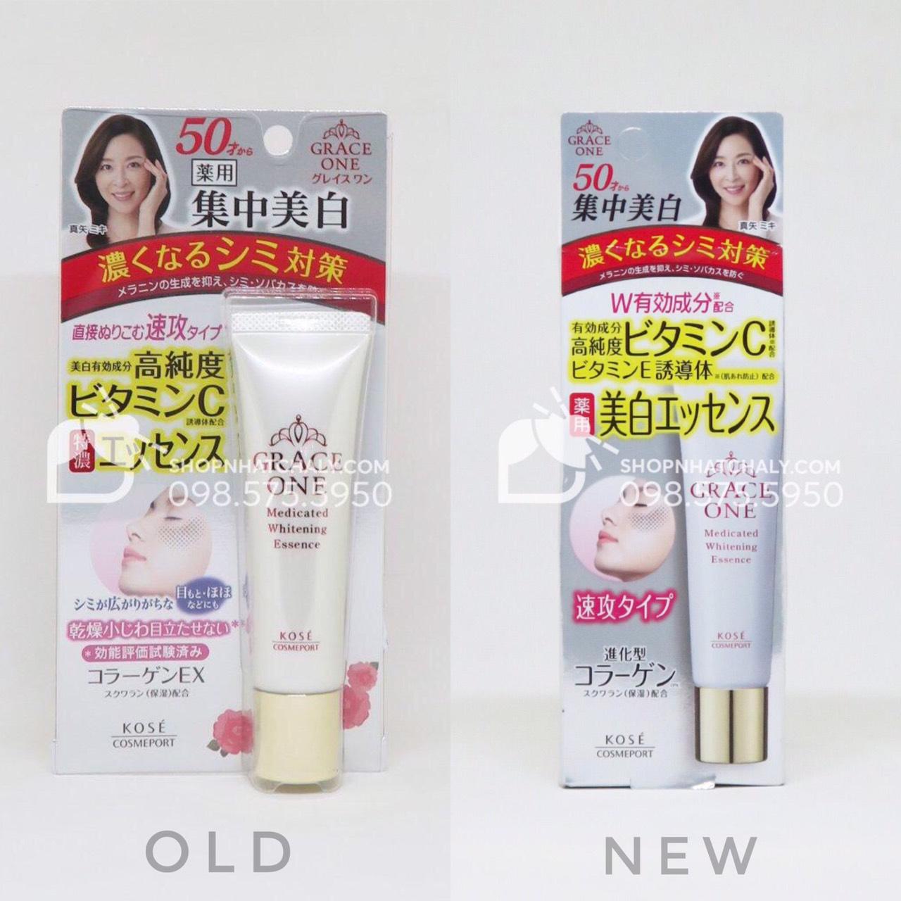 Sản phẩm siêu hot serum trị nám của Nhật Bản Kose Grace One U50 mẫu mới 2019 (phải) và mẫu cũ 2018 (trái)