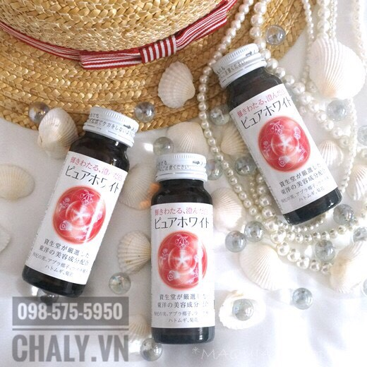 Thức uống collagen shiseido pure white dạng nước là nước uống đẹp da đa năng, tập trung vào trị nám, tàn nhang và dưỡng trắng