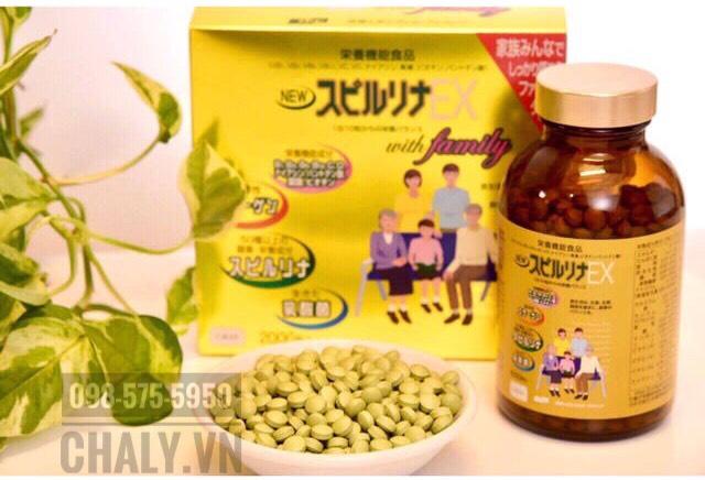Tảo vàng Spirulina EX 2000 viên for family 1 hộp có 2 lọ, mỗi lọ gồm 1000 viên tảo Nhật EX rất tốt cho sức khoẻ của cả gia đình