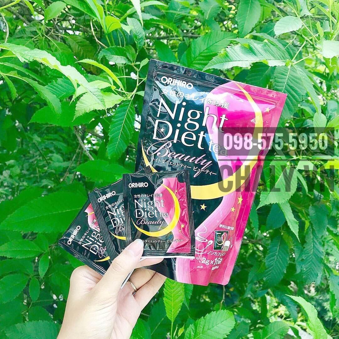 Trà giảm cân orihiro night diet tea review cao nên đây là thức uống giảm cân đẹp da bán rất chạy tại Nhật Bản