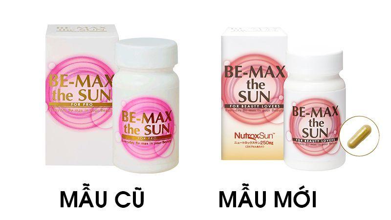 Viên uống chống nắng be max the sun mẫu mới 2019 (phải) và mẫu cũ (trái)