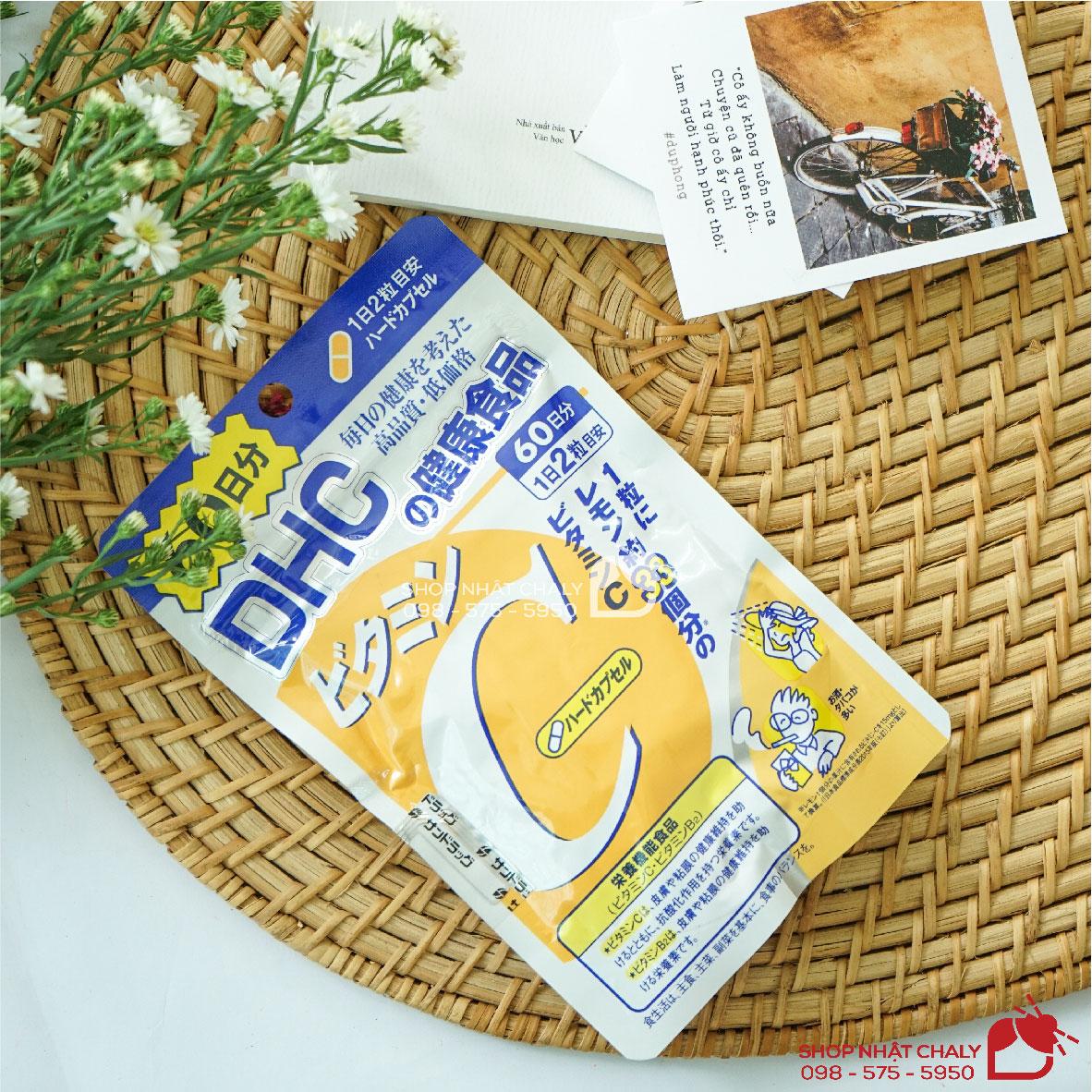 Viên uống vitamin c dhc nhật bổ sung hàm lượng 500mg vitamin c thiên nhiên mỗi viên, giúp dưỡng trắng da mờ thâm rất hiệu quả