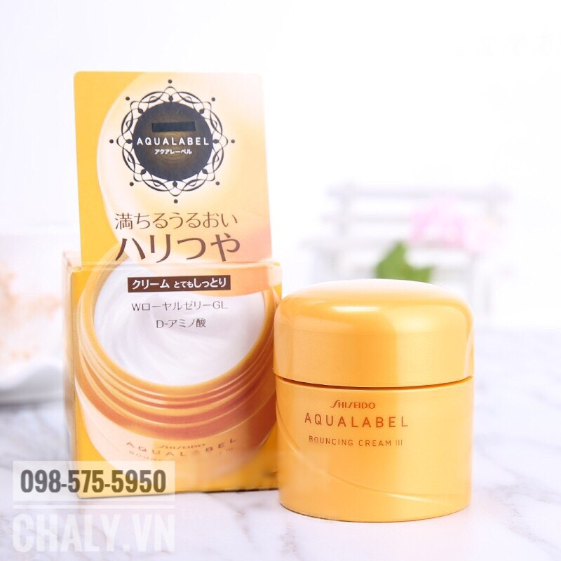 Kem dưỡng da Shiseido Aqualabel vàng 50g với nhiều thành phần chống lão hoá chuyên sâu giúp tăng đáng kể độ săn mịn của làn da chị em. Phù hợp với chị em trên 30 tuổi hoặc da thường tới da khô