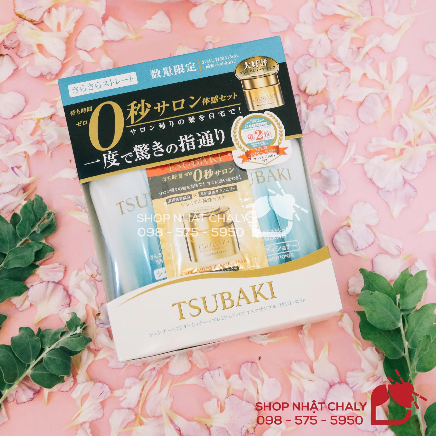 Bộ dầu gội Tsubaki trắng (xanh) phù hợp với tóc suôn, thẳng, mềm giúp tóc có độ tơi và mịn