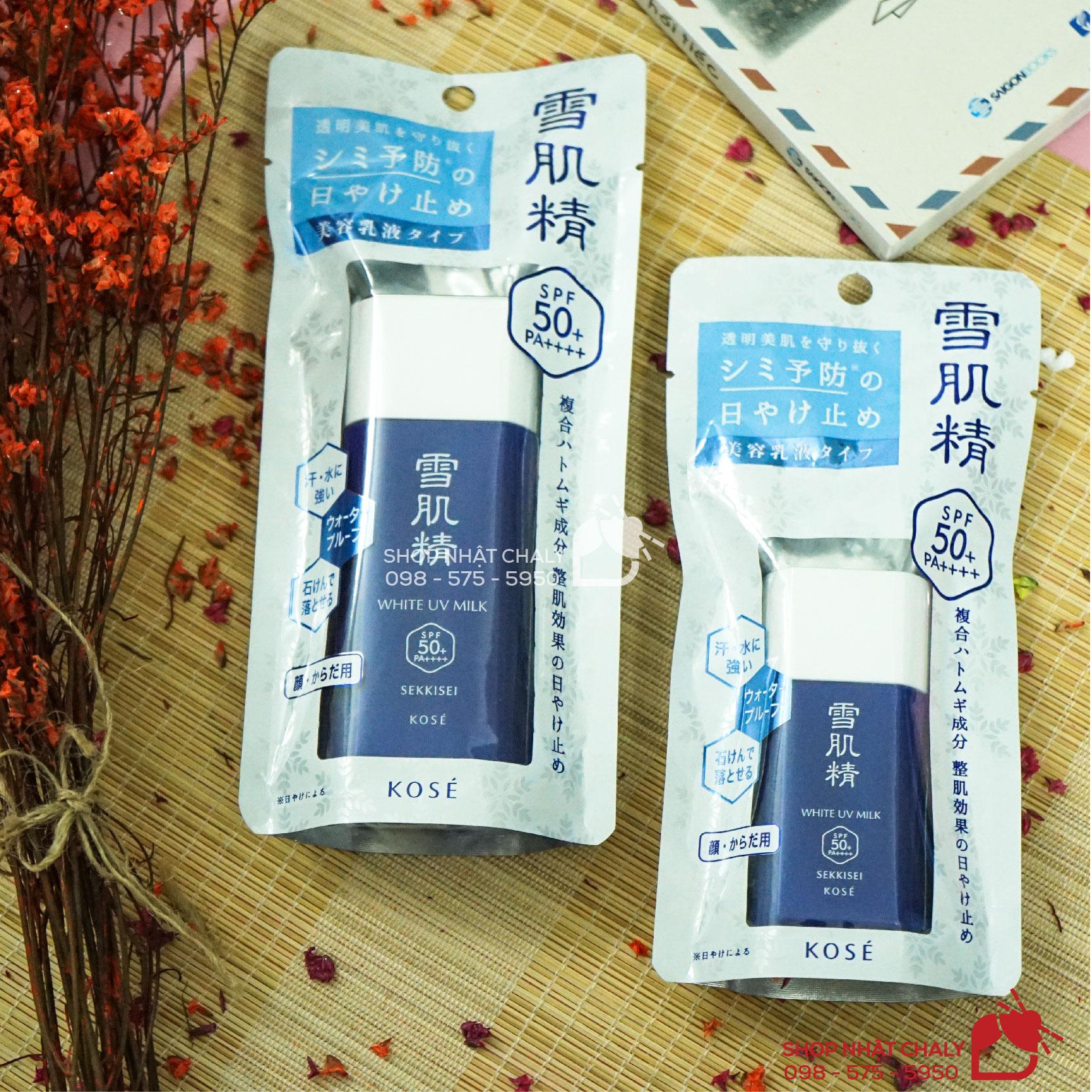Kem chống nắng Kose Sekkisei sun protect essence milk thần thánh được đổi tên thành kem chống nắng KOSE WHITE UV MILK trong phiên bản mới 2019