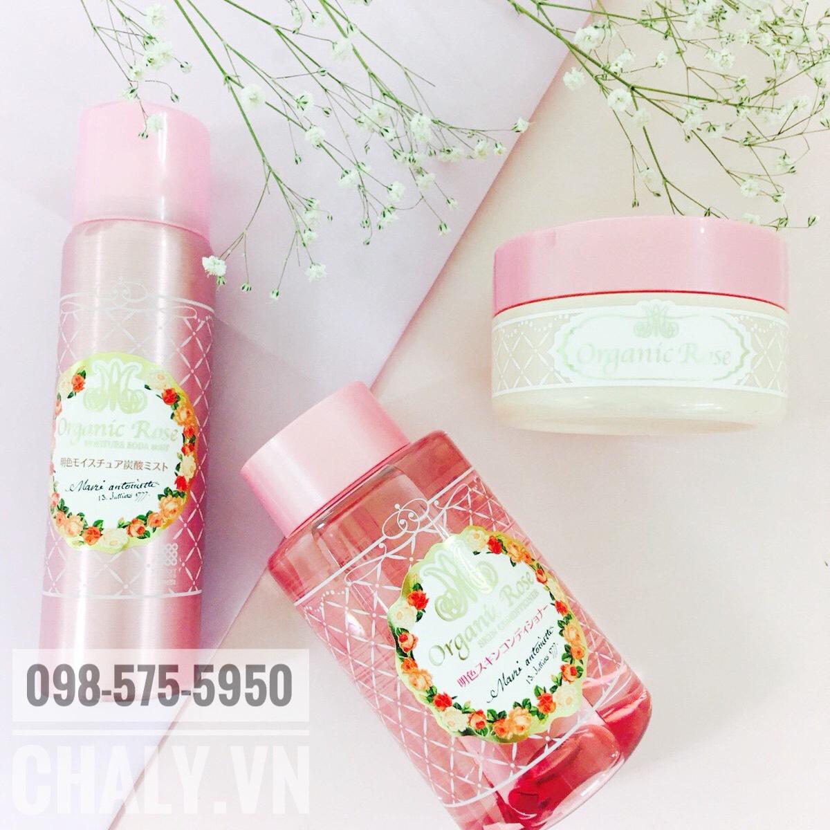 Set organic rose skin conditioner gel review: Thứ tự yêu thích của mình là toner > kem > sữa rửa mặt
