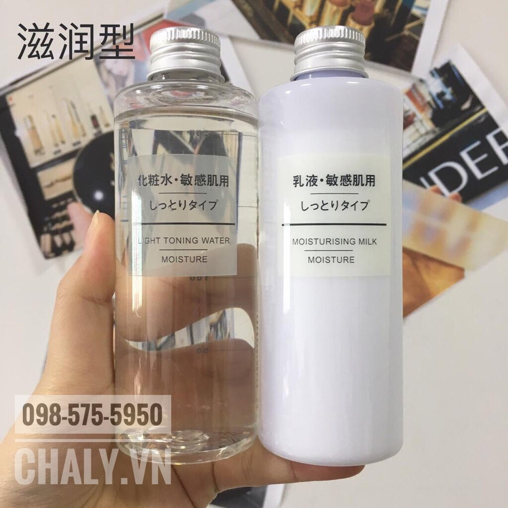 Mình thì dùng chai nước hoa hồng muji cho da khô light toning water moisture với chai sữa moisture luôn cảm thấy cực ưng ý