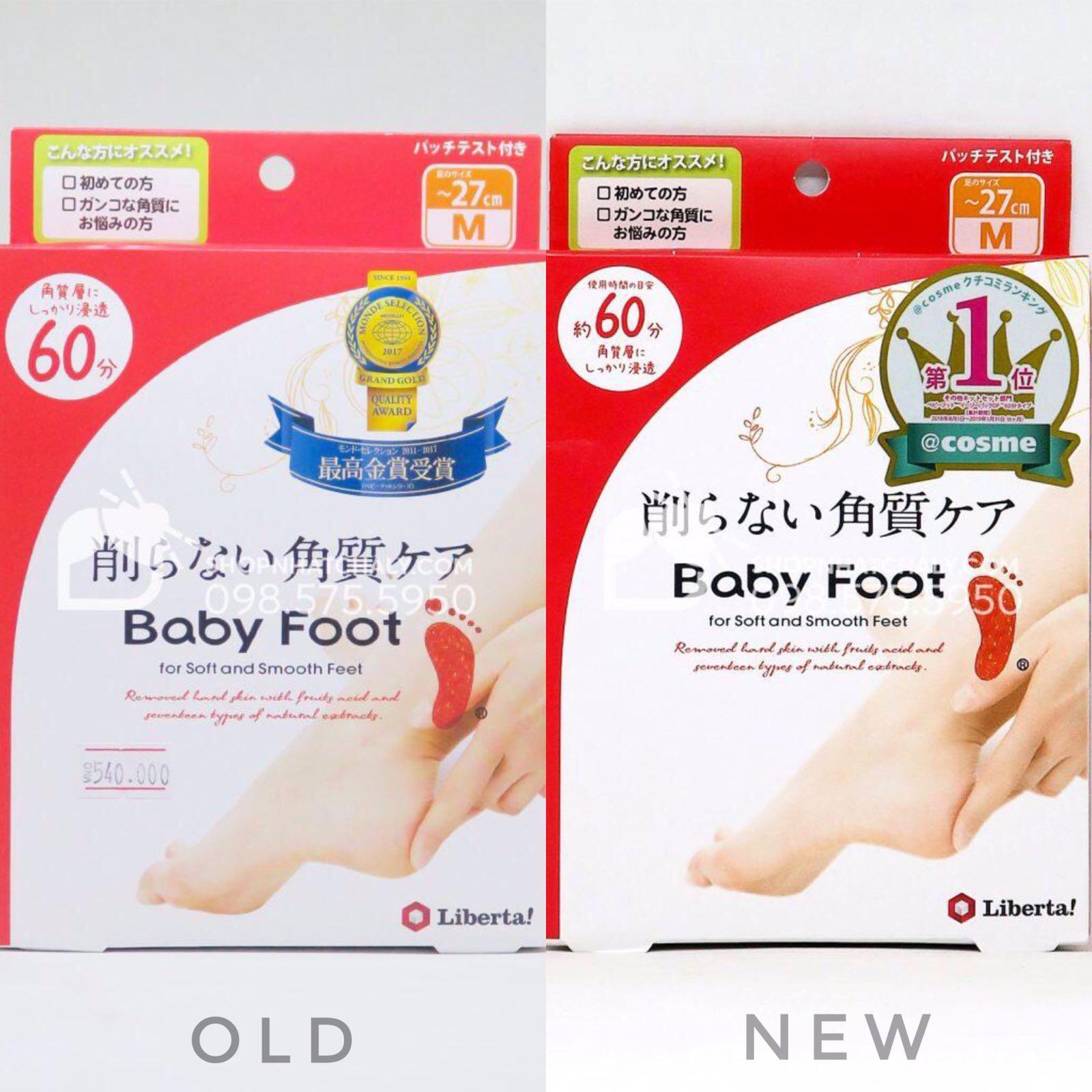 Bao bì mẫu cũ (trái) và mẫu mới nhất (phải) của ủ bong da chết bàn chân Baby Foot for soft and smooth feet Nhật Bản