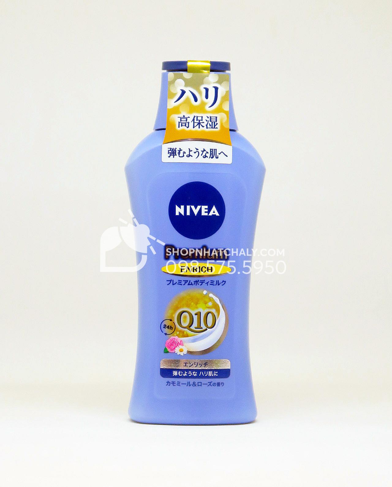 Dòng dưỡng thể cao cấp nhất của Nivea Japan. Premium Milk Q10 Advance Enrich vừa dưỡng thể vừa chống lão hoá