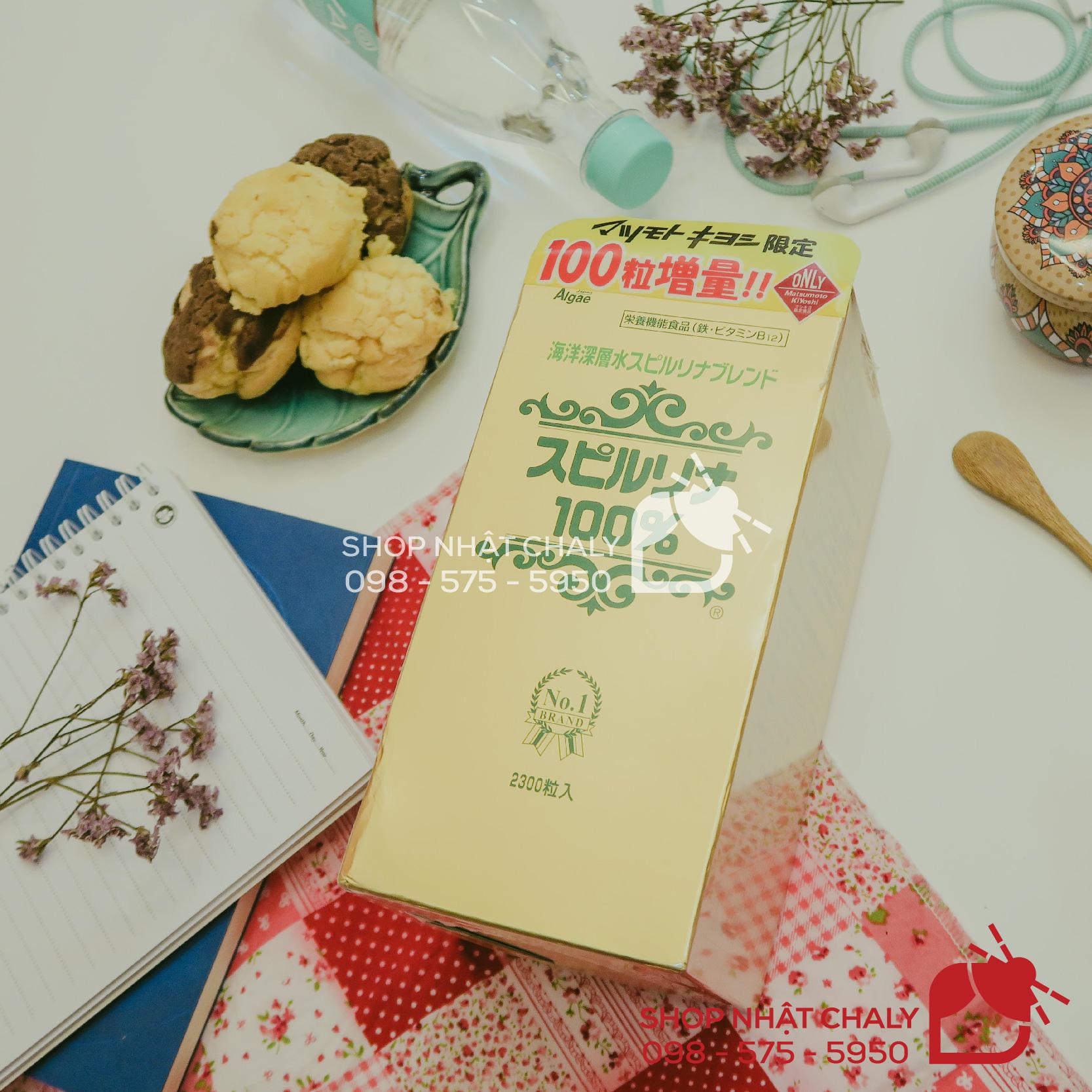 Tảo xoắn Spirulina Nhật Bản hộp 2200 viên mác đỏ bản limited phân phối tại nhà thuốc Matsumoto Kiyoshi, được tặng thêm 100 viên tảo spirulina nữa nên tổng cộng có 2300 viên
