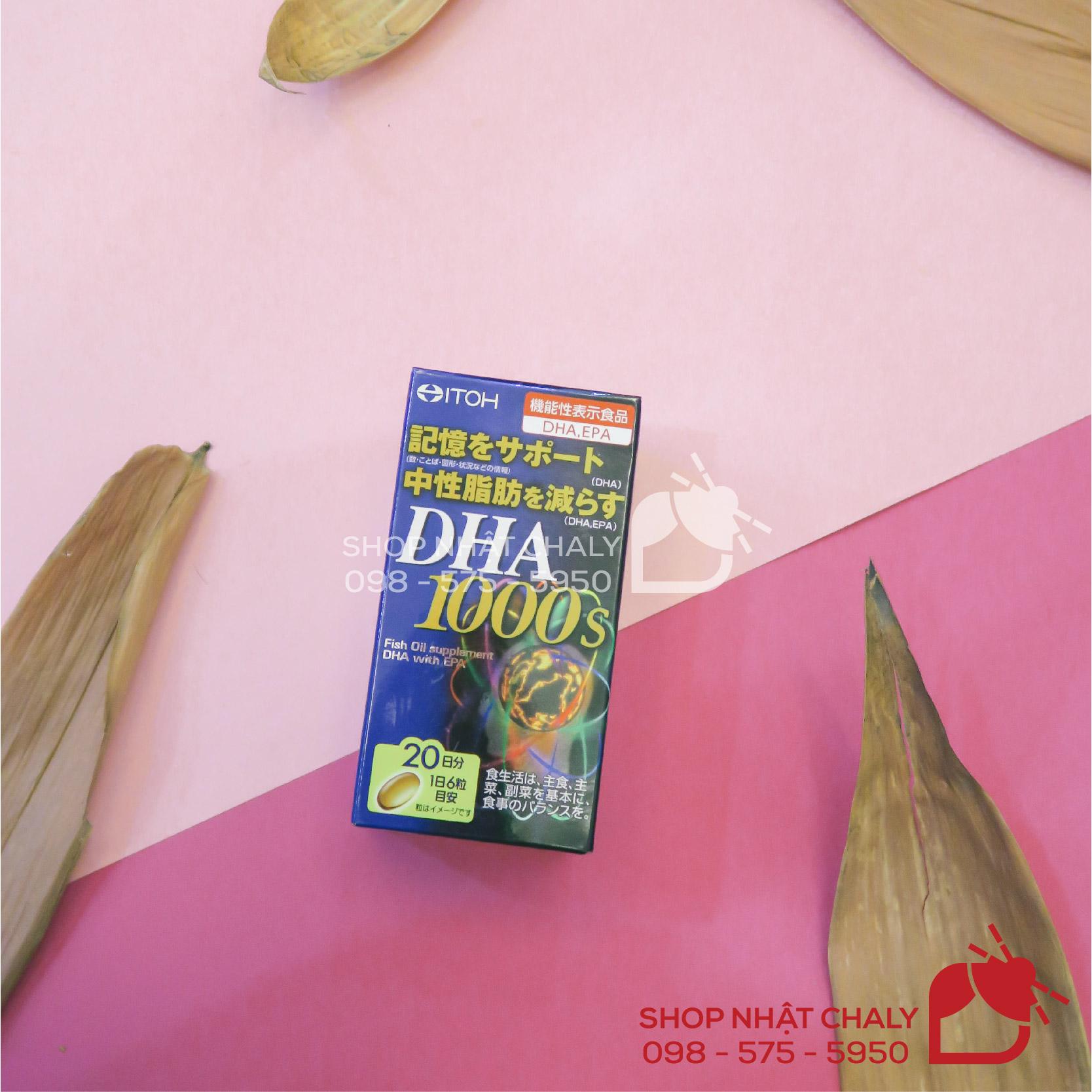 Mỗi lọ DHA 1000s bổ não của Nhật chứa 1000mg DHA và 14mg EPA tốt cho cả não và thị lực người dùng