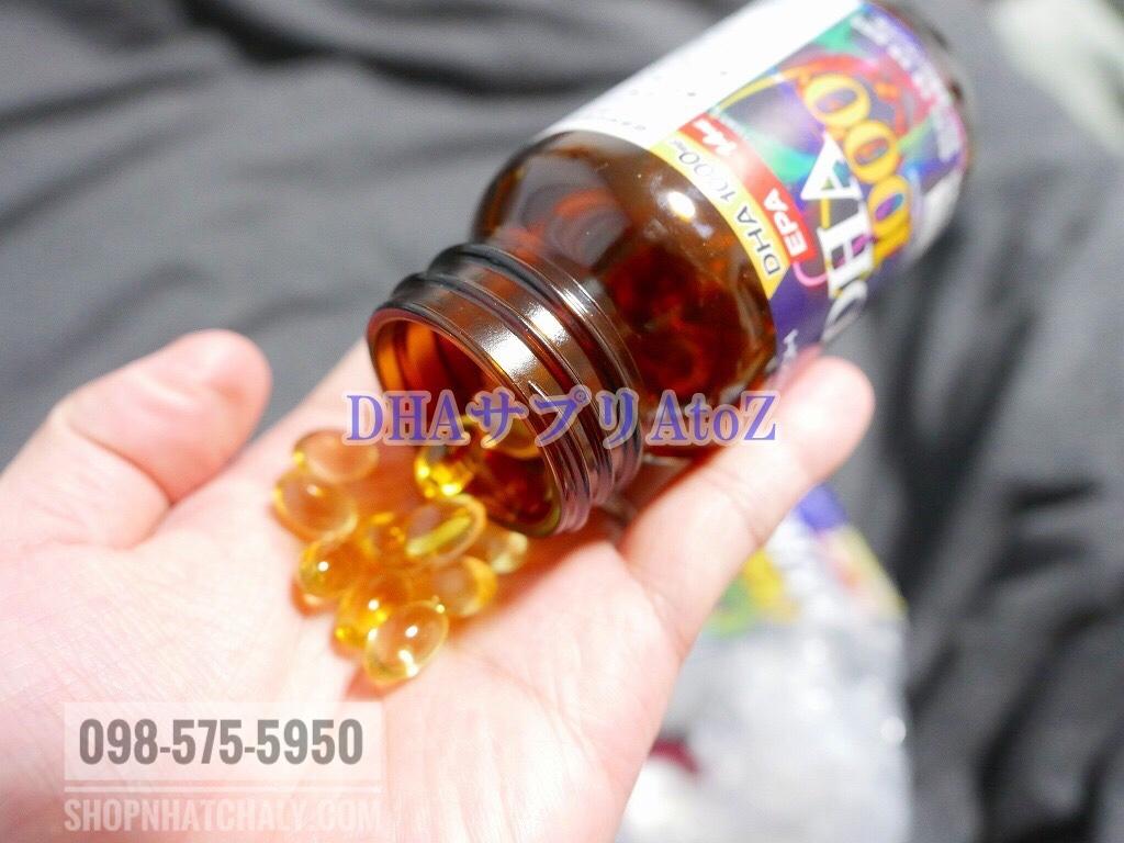 Mỗi lọ DHA 1000s Nhật chứa 120 viên con nhộng, không mùi vị, dễ uống
