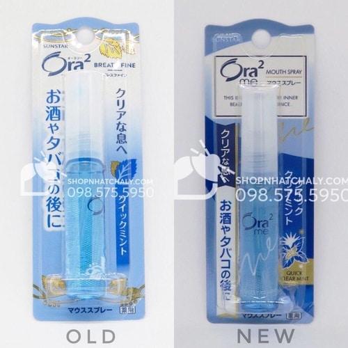 Xịt khử mùi khoang miệng của Nhật Ora 2 Sunstar Breath Fine mẫu mới nhất (phải)