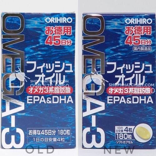 Viên dầu cá Orihiro omega 3 bổ mắt mẫu mới nhất (phải)