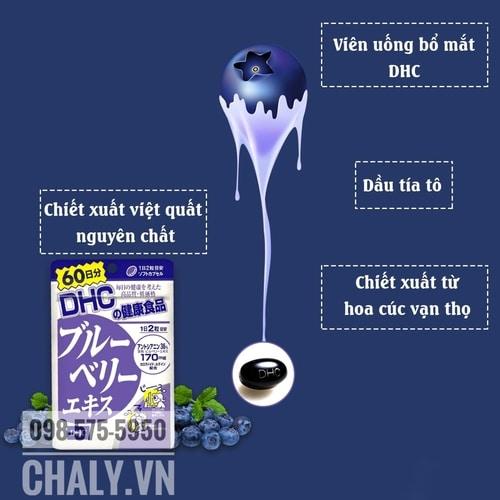 Viên việt quất DHC của Nhật không chỉ chứa tinh chất việt quất blueberry mà còn hàng loạt thành phần tốt cho tế bào mắt