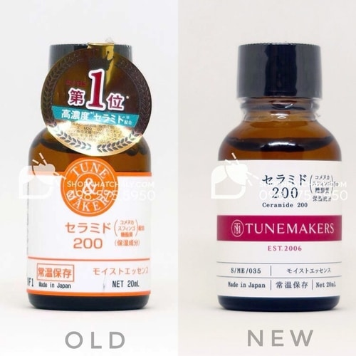 Mẫu mới 2020 (phải) và mẫu cũ của serum ceramide Tunemakers Nhật