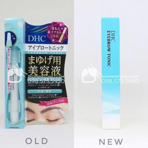 Mẫu cũ (trái) và mẫu mới nhất hiện hành năm 2020 (phải) của dưỡng mày DHC eyebrow tonic Nhật