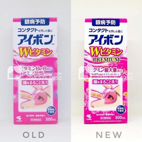 Chai nước rửa mắt Kobayashi Eyebon Nhật 500ml mẫu mới nhất (phải)